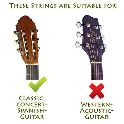 Gitarrensaiten für Konzert-/Klassik-Gitarre Nylon Saiten 6er Satz Saiten Seiten
