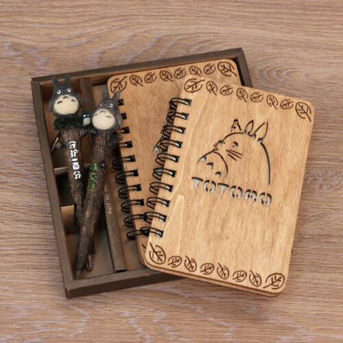 Totoro Vintage Japanese Anime Oak Woden Notebook + Pen Nice