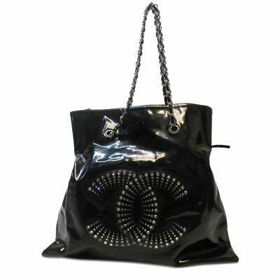 CHANEL Black Crystal Strass CC Bon Bon Tote Handbag Patent Leather