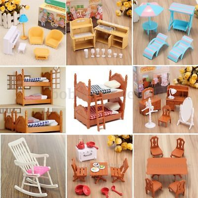 Dolls House Kitchen Living Room Bedroom Miniature Sofa Furniture Kid Play Toy UK