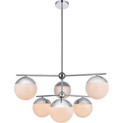 CHANDELIER CHROME PENDANT FROSTED GLASS DINING ROOM KITCHEN