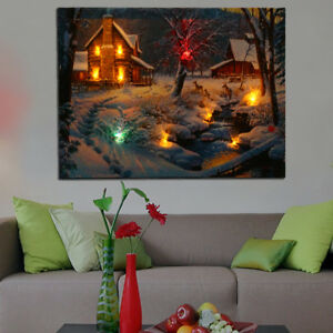 LED Lighted Winter Snow Cabin Deer Canvas Art Print Light Up Picture Wall Decor