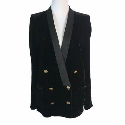 ZARA Black Velvet Tuxedo Double Breasted Long Sleeve Blazer Jacket Womens L
