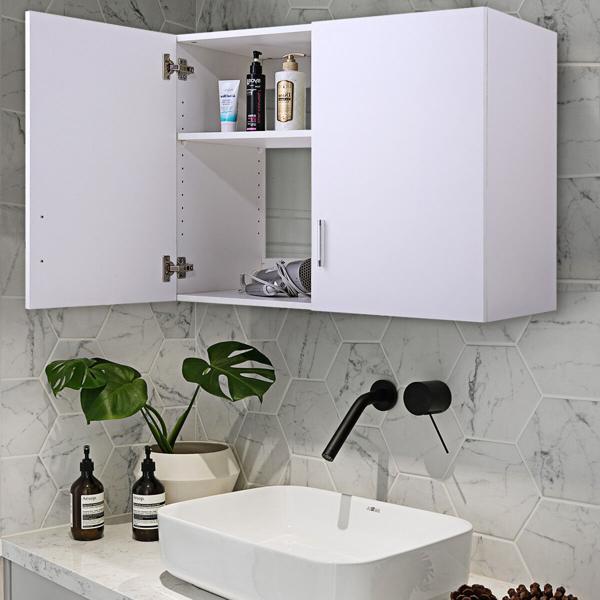 White Wall Mount Storage Cabinet Laundry Kitchen Bathroom Sh