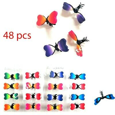 -  48 pieces Mini Small Butterfly Heart Hair Snap Clamp Clip Claw Pin Scallop Lots