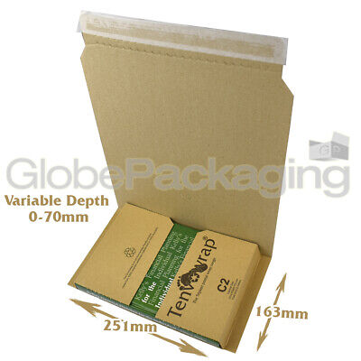 10 x C2 BOOK WRAP MAILER POSTAL BOXES 251x163x70mm - 100% RECYCLABLE