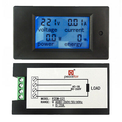 Ac 80260v 20a Lcd Digital Volt Watt Power Energy Meter Panel Voltmeter Ammeter
