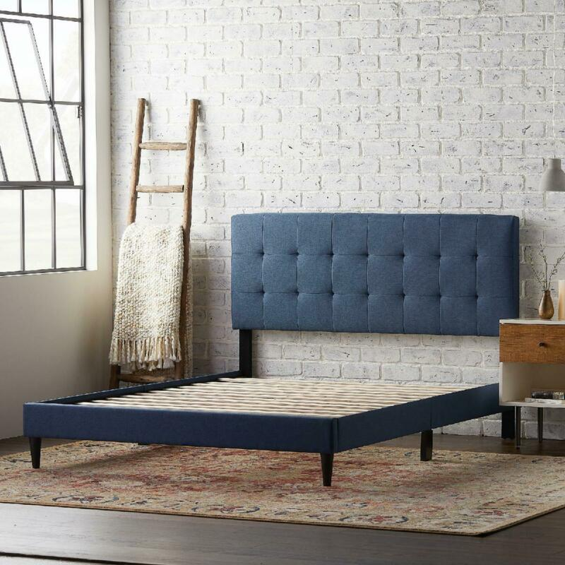Twin XL Upholstered Platform Bed Frame With Square Tufted He