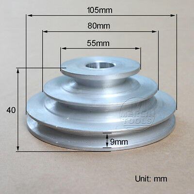 16 To 20mm Bore V Groove 3 Step Pulley For 38 9.525mm Belt Width - Select