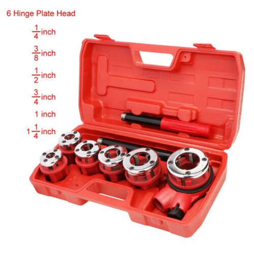 U.S. Solid Ratchet Pipe Threader Kit Pipe Die Tool Set w/ 6 Hinge Plate Head