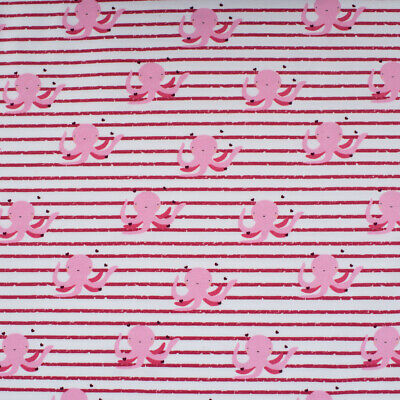 Baumwolljersey Jersey Oktopus Krake mit Herzen Streifen rosa weiß 1,5m - Krake Kostüm Kinder