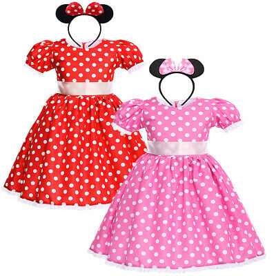 Kids Girls Minnie Mouse Costume Birthday Outfit Polka Dot Dress Up Photo Props