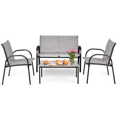 Garden Furniture - 4 PCS Patio Furniture Set Sofa Coffee Table Steel Frame Garden Deck Gray New