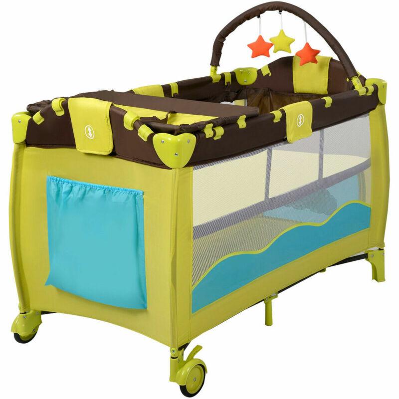 Folding Baby Crib Mobile Infant Nursery Bed Bassinet Cradle Playpen Play Yard