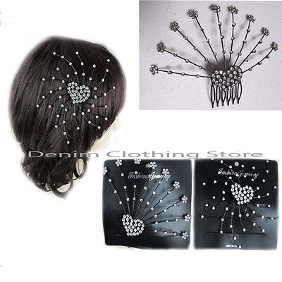 2pcs Black Metal Hair Comb Crystal, Rhinestone Clip Wedding Bridal Accessories
