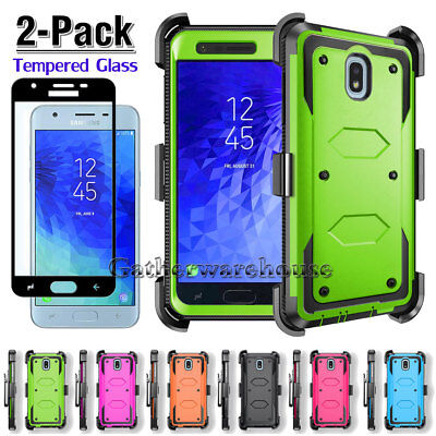 For Samsung Galaxy Express/Amp Prime 3/Sol 3 Case Cover + Black Tempered Glass (Express Glasses)