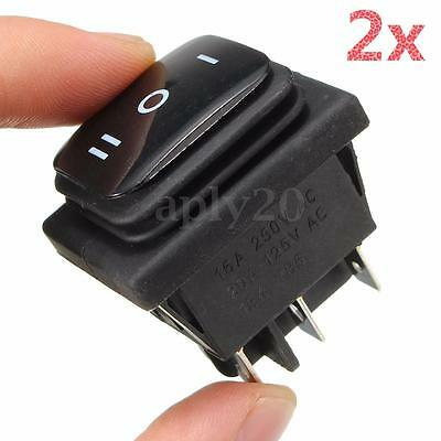 2pcs 12v Waterproof Black 6 Pin Dpdt Locking On-off-on Rocker Switch Us