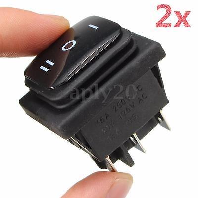 2Pcs 12V Waterproof Black 6 Pin DPDT Locking ON-OFF-ON Rocker Switch US