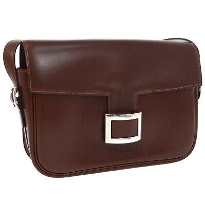 HERMES Vintage Shoulder Bag Purse Dark Brown Leather 17.X ⬜D Authentic AK38623