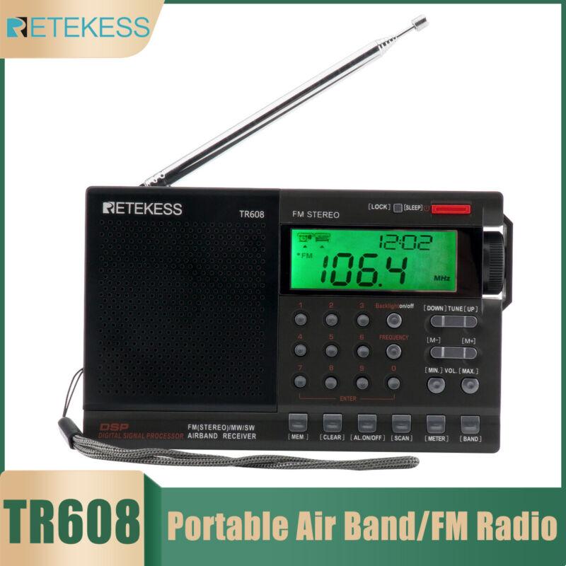Retekess TR608 Portable Radio Air Band/FM/MW/SW Receiver Display for Travel US