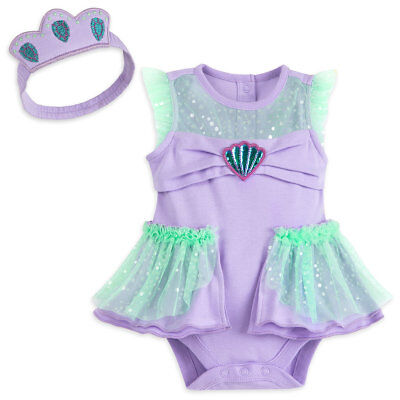 NWT Disney Store Ariel Baby Costume Bodysuit Headband 0 3 6 9 12 18 24M Mermaid