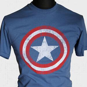 Captain america shield super hero vintage movie t shirt for Retro superhero t shirts