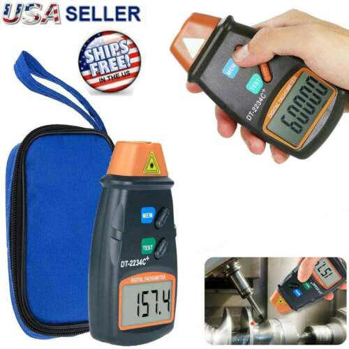 Digital Tachometer Non Contact Laser Photo RPM Tach Meter Motor Speed Gauge New