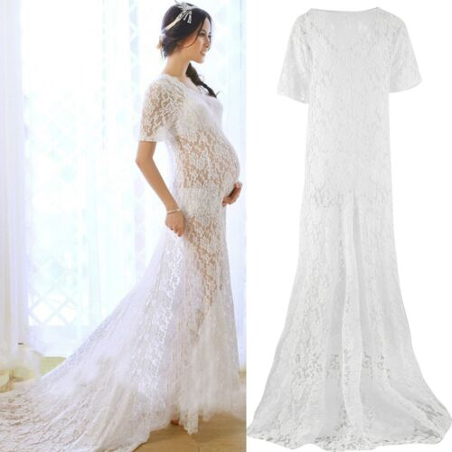 0a3c5523c3ed1 White Lace Gown Dress Belly Dress For Pregnant Maternity Photography Props  Women
