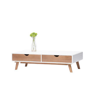 NEW TIMBER WOODEN SOLID COFFEE TABLE RETRO VINTAGE WHITE MODERN STYLE