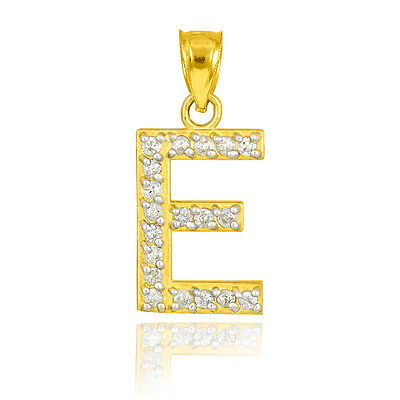 "10k Letter ""E"" Initial Gold Pendant Necklace with Diamonds 0.19 ctw"