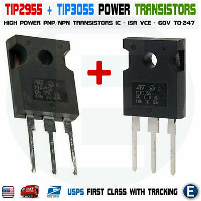1 Par Tip2955 Tip3055 Power Transistors Pnp Npn 60v 15a To-247 Bipolar Audio