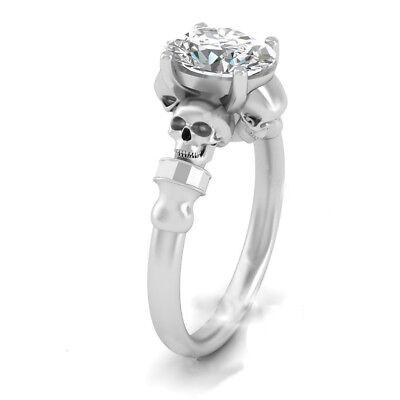 White Plated White Stone Studded Skull Design Engagement Ring In 925 (Silver Studded Skull Design)