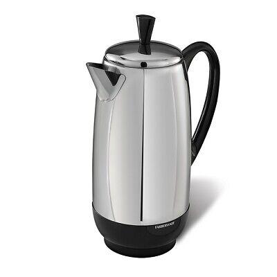 ELECTRIC COFFEE PERCOLATOR, STAINLESS STEEL FARBERWARE 12-CUP COFFEE PERCOLATOR