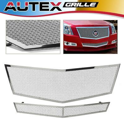 Mesh Grille Combo Fits 2008-2010 Cadillac CTS Stainless Steel Upper+Lower Bumper