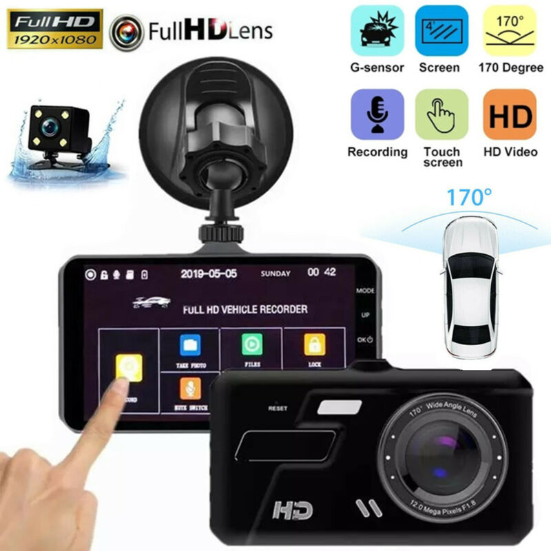 "Touch Screen Dash Cam 4"" 1080P Dual Lens Car DVR Recorder Front and Rear Camera"