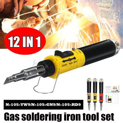 12in1 Wireless Portable Butane Gas Soldering Iron Kit Cordless Burning Pe I