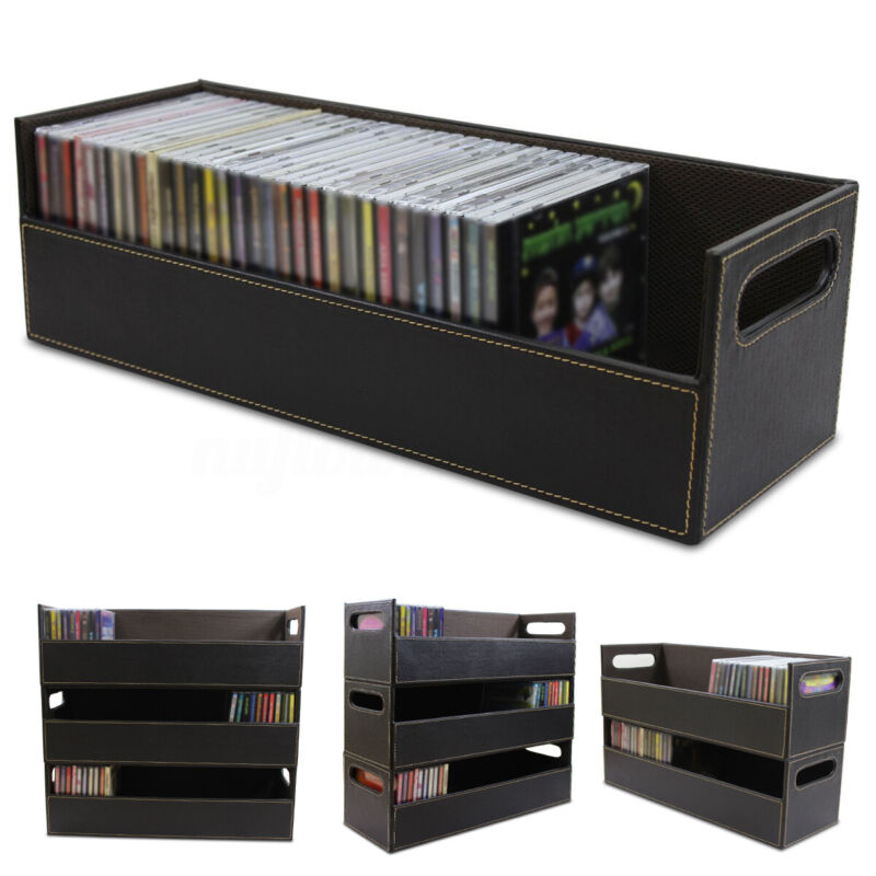 CD DVD Disk Storage Box Case Rack Holder Stacking Tray Shelf Space