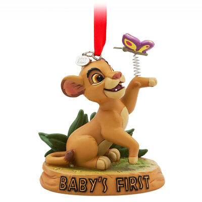 Disney Authentic The Lion King Simba Baby's First Christmas Ornament Figure New