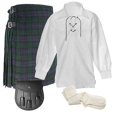 Mens Scottish 5 Yard 5 Piece Kilt package, Kilt, Shirt, Socks, Sporran, Chain