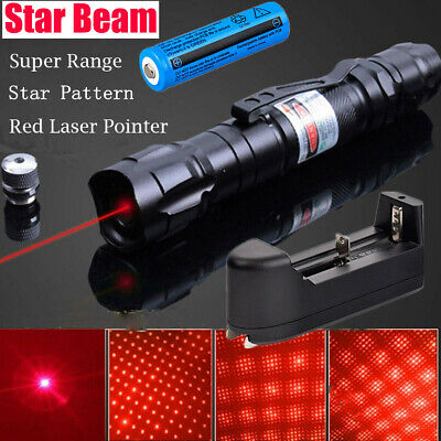 900Miles Red Laser Pointer Rechargeable Lazer Star Cap+Belt Clip+Charger+Battery