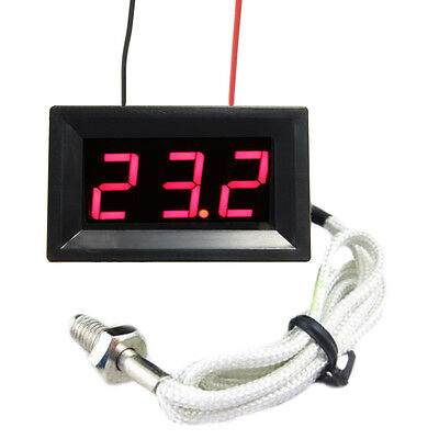 Thermocouple Red Led Dc12v Digital Thermometer Temperature Meter Display 0999c