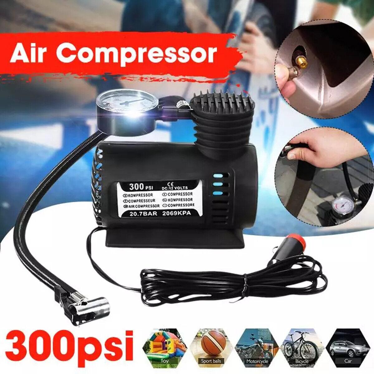 300PSI 12V Portable Mini Air Compressor Auto Car Electric Ti