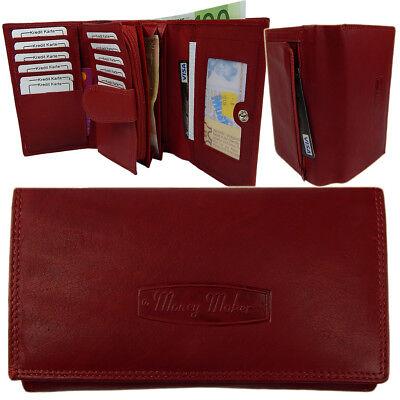 Weiche Damen Geldbörse (Damengeldbörse 25 Fächer weich Rindleder Portemonnaie Geldbeutel 12 Karten Rot)