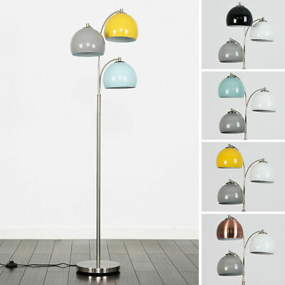 Modern 150cm 3 Arm Arco Floor Standard Lamp Multi Coloured Domed Light Shades