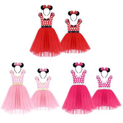 ancy Tutu Costume Polka Dot Dress Set Outfits Ear Headband (Minnie Mouse Polka Dot Tutu)