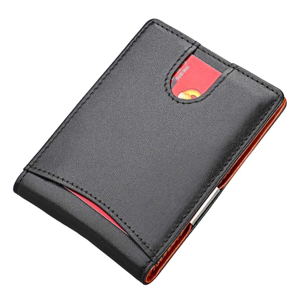 Slim Money Clip Bifold Wallet for Men Genuine Leather Front Pocket Card Holder Clothing, Shoes & Accessories