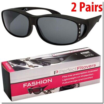 FIT OVER WOMENS SUNGLASSES FASHION FITOVER GLASSES 2 PAIRS WITH CASE BLING (Fit Over Sunglasses With Bling)