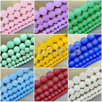 "- Matte Red&Green Jade Round Gemstone Loose Beads 15.5"" 4mm 6mm 8mm 10mm 12mm"