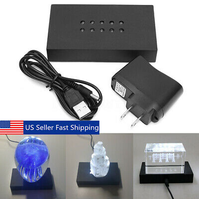 Elegant 10 LED White Light Stand USB Crystal Figurine Display Base + AC Collectibles