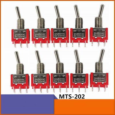 10x Mts-202 6 Pins 2 Position Dpdt Toggle Switch Car Dash Onon 5a 125v 2a 250v